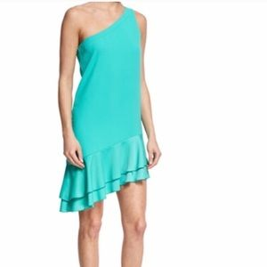 Trina Turk Lunaria One-Shoulder Dress, Cabana Teal